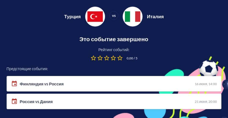 Ставки на Турция - Италия